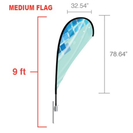 Teardrop – Medium Flag Dimensions