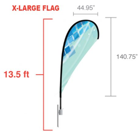 Teardrop – X-Large Flag Dimensions