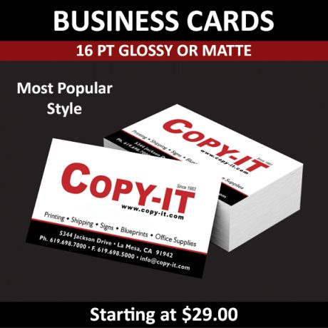 Business Cards – 16pt Glossy or Matte