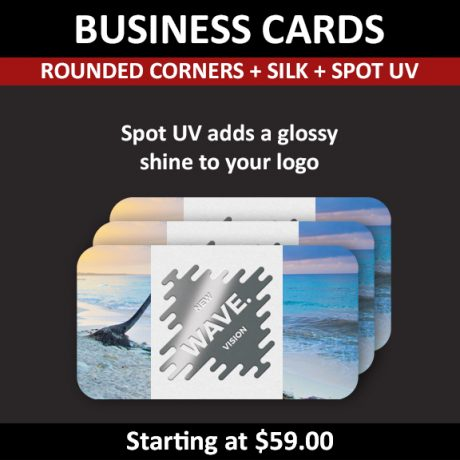 Business Cards – Silk Cards + Spot UV Option (rounded corners)